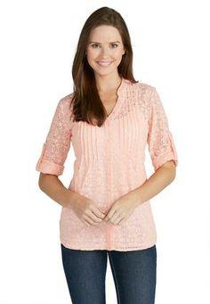 Cato Fashions Lace Button Front Shirt #CatoFashions