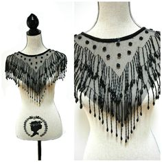 1920's style Gatsby flapper black beaded shawl by ButtonsandFrills, $38.00