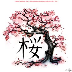 Cherry blossom tattoo - falling petals & Japanese kanji symbol for inner strength