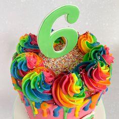 #rainbow #rainbowbuttercream #birthdaycake #rainbowcake #dripcake Drip Cakes, Buttercream Cake, Celebration Cakes, Birthday Cake, Rainbow, Desserts, Food, Buttercream Ruffles, Shower Cakes