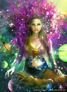 An art piece by Karina Moroira, portraying Mother Earth. She is my Goddess and her husband is my God.