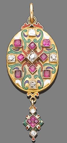 "An enamel, ruby and diamond Holbeinesque locket pendant, circa 1870 The oval locket decorated with white, green, blue and red enamel and set with old brilliant-cut diamonds and circular-cut rubies, suspending a tapering terminal of similar design, the back engraved with floral decoration, the inside engraved ""Victoria R 1852"", diamonds approx. 0.60ct. total, length 5.9cm."