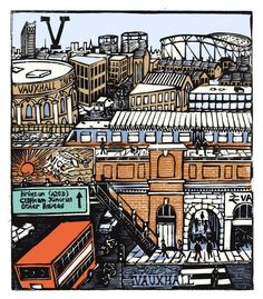 """V - Vauxhall"" from ""London A-Z"" Complete Boxed Set linocuts by Tobias Till, 2012. http://www.tobias-till.co.uk/. Tags: Linocut, Cut, Print, Linoleum, Lino, Carving, Block, Woodcut, Helen Elstone, Buildings, Architecture, Vehicles."