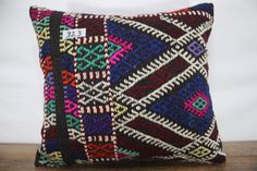 Vintage Kilim Pillow Cover 16x18 Embroidered Kilim Cushion Cover,Sofa Pillow,Boho Pillow ,Tribal Pillow,Handwoven Wool Pillow SP4040-323