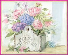 jardinage on jardine Decoupage Vintage, Art Vintage, Vintage Cards, Art Floral, Vintage Pictures, Vintage Images, Flower Prints, Flower Art, Garden Painting