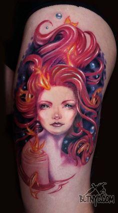 Red headed Siren Tattoo by Rain at Body Language Tattoo Shop NYC #tattoo #portraittattoo #tattooartist #colortattoo