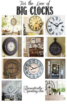 I love the addition of a big clock in decor - it's such a great statement piece!