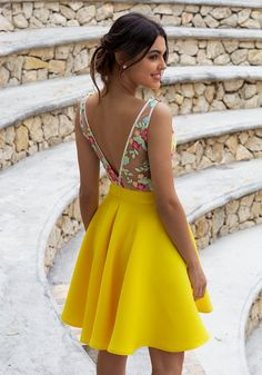 Illusion Back Floral Embroidery Daffodil Homecoming Dress - Yellow Dresses - Ideas of Yellow Dresses - Fashion Forward Yellow Party Dresses Floral Formal Dresses for Teens Plus Size Hoco Dresses Best Formal Dresses, Hoco Dresses, Cute Dresses, Floral Dresses, Elegant Dresses, Sexy Dresses, Yellow Party Dresses, Bridesmaid Dresses, Womens Fashion
