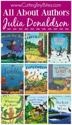 All About Authors- Julia Donaldson. Biographical information book list activities and crafts along with other resources to support books written by Julia Donaldson author of The Gruffalo Room On The Broom Stick Man The Snail On the Whale and more! Preschool Books, Book Activities, Preschool Plans, Kindergarten Books, Julia Donaldson Books, Room On The Broom, The Gruffalo, School Librarian, Author Studies