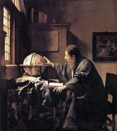 「天文学者」  フェルメールには珍しく男性を描いた作品。モデルになったのは、同郷の科学者レーウェンフィックや哲学者スピノザという説もあるがはっきりしていない。2015年に日本に初来日する。