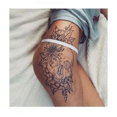 This Pin was discovered by Khianna Caruso. Discover (and save!) your own Pins on Pinterest. | See more about Skulls, Floral Thigh Tattoos and Thigh Tattoos.