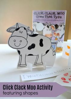 Create a Click Clack Moo Activity with your child. Head to the farm with this shape themed farm activity for preschoolers! Inspired by the book Click Clack Moo this literacy and math focused activity is Preschool Learning Activities, Hands On Activities, Book Activities, Preschool Ideas, Learning Shapes, Learning Time, Fun Math, The Book, Moo