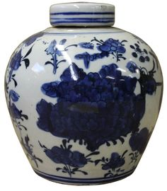Chinese Oriental Small Blue White Porcelain Ginger Jar cs2077S
