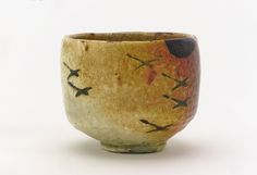 Kenzn-style White Raku tea bowl with flying geese and moon