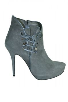 Aldo Castagna Grey Ankle Boots With Lace Detail