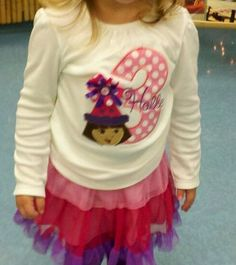 Custom Monogrammed Dora Birthday shirt Applique by amandajohne, $24.95