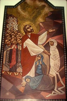Raising Lazarus from the dead (by Isaac Fanous in St Mark's Coptic Orthodox Church - London, UK)