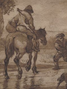 "OSTADE (van) Isaac,1644-49 - Paysage avec Voyageurs (drawing, dessin, disegno-Custodia) - Detail -p - TAGS/ details détail détails detalles ""dessins 17e"" ""17th-century drawings"" ""dessins hollandais"" ""Dutch drawings"" ""Dutch painters"" ""peintres hollandais"" Paris France Holland Hollande animal animaux animals man men hommes paysan dog pet chien Isaack tree trees nature arbres chevaux cheval horse traveller ox boeufs boeuf oxes agriculture countryside campagne landscape Isaack road chemin camino"