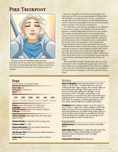 """Pike Trickfoot, character sheet: """"I'm a Monstah! Dungeons And Dragons 5e, Dungeons And Dragons Characters, Dungeons And Dragons Homebrew, Dnd Characters, Character Sheet, Character Creation, Character Concept, Science Fiction, Dnd Stats"""