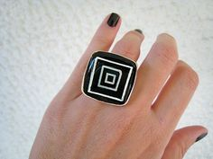 Black statement ring concentric squares black and white minimal abstract geometric silver adjustable hand painted bohemian boho jewelry