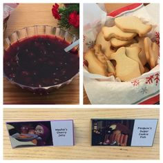 Masha and the Bear Party Food Ideas - Masha's cherry jelly (Jam Day episode) [Cherry Kissel recipe from #natashaskitchen.com] and Penguin's sugar cookie fish (The Foundling episode)