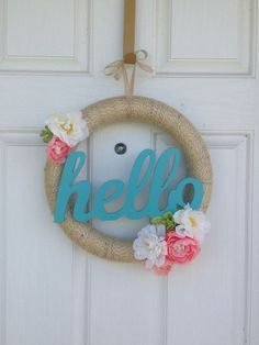 I don't know about your part of the world but here in sunny AZ spring is well on its' way. Spring Home Decor, Spring Crafts, Holiday Crafts, Twine Wreath, Diy Wreath, Wreath Ideas, Burlap Wrapped Wreath, Door Wreaths, Grapevine Wreath