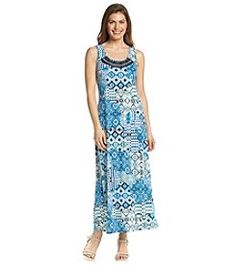 82f07fe8e20 NY Collection Petites  Printed Embellished Maxi Dress