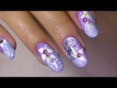 Delicate Soft Purple & Blue Nail Art, Roses ,Flowers & Butterflies - YouTube