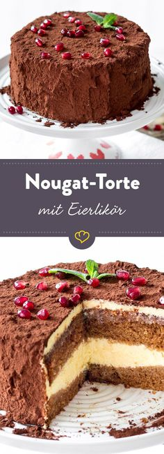 With swings and chocolate: Nougat-Eierlikörtorte – Torten Sweets Recipes, Easter Recipes, Cake Recipes, Torte Au Chocolat, Nougat Torte, Sweet Bakery, Almond Cookies, Brownie Cake, Drip Cakes