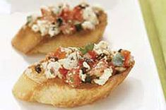 Roasted red pepper with feta bruschetta -- what I'm doing with leftover foccacia.