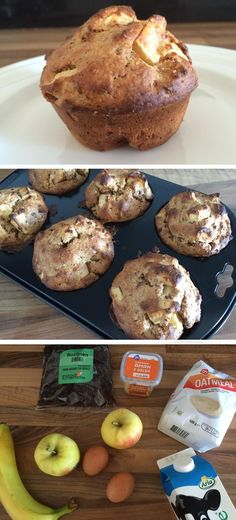 Muffin with oatmeal, apples and bananas Food To Go, I Love Food, Good Food, Food And Drink, Yummy Food, Healthy Pastry Recipe, Healthy Baking, Sports Food, Cupcakes