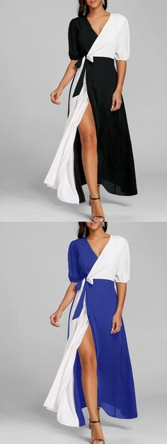 Puff Sleeve Color Block High Slit Maxi Dress