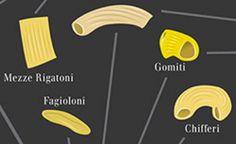 Hundreds of pasta shapes, categorized and mapped.