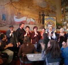 Musicans perform at Caffe Trieste in North Beach, San Francisco, Calif., image