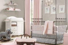 babyzimmer mit geschmack, edel grau rosa dezent einrichtungsideen luxus kinderzimmer dekoration elegant