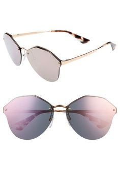 fd76bcd21e9 RARE NEW AUTH Prada 66mm Oversize Rimless Sunglasses PR64TS Gold  Pink  Mirror  fashion  clothing  shoes  accessories  womensaccessories ...