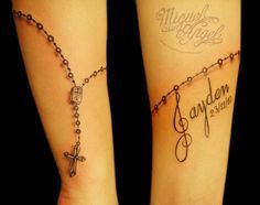 Freehand rosary beads and name tattoo by Miguel Angel tattoo, via Flickr
