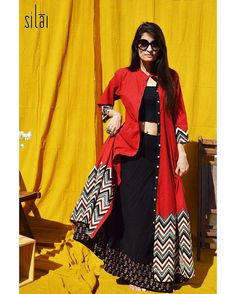 Style this versatile chevron front button kalidaar in your own avatar to suit any occasion  Inbox us for details or drop an email silaistudio@gmail.com  #silai #ss16 #comfort #fit #red #black #chevron #maxi #kalidar #handprinted #blockprint #indian #indiantextile #handcraftedwithlove #instafashion #instablog #indianfashion