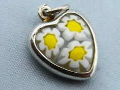 Vintage Millefiore Daisy Sterling Heart Charm