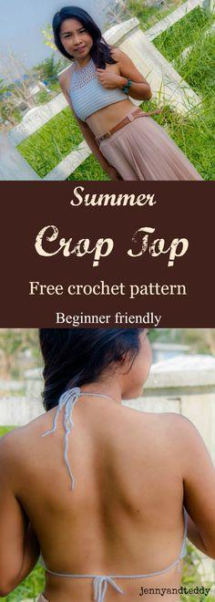Crochet halter top f Beginner Crochet Tutorial, Crochet Patterns For Beginners, Easy Crochet Patterns, Summer Patterns, Crochet Ideas, Knitting Patterns, Crochet Halter Tops, Crochet Crop Top, All Free Crochet