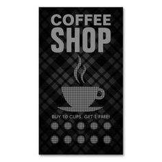 plaid coffee punch card business card templates