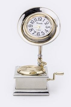 """NOW AVAILABLE AT WWW.LUCYSGIFTPALOOZA.COM Xanadu """"Vintage Phonograph"""" Miniature Clock FOR ONLY $19.99"""