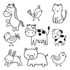 Cute animals premium vector freepik animal sketches, cute animals и ske Art Drawings For Kids, Doodle Drawings, Drawing For Kids, Cartoon Drawings, Easy Drawings, Art For Kids, Animal Sketches, Animal Drawings, Tier Doodles