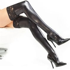 Sexy Lingerie Hot Women Ladies Lace Stay-up Black White PU  Leather Thigh High Stockings Wet Look Fetish Stocking Exotic Apparel
