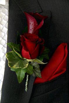 1965aa363 Valentine's Wedding at Beeston Manor; Matt & Nina Powell Black Corsage,  Red Corsages