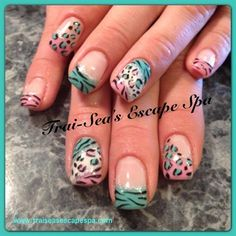 Pink & Green Leopard & Zebra - Nail Art Gallery