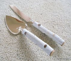 Rustic Wedding Cutlery Birch Cake Server and Knife from a Real Birch Tree Handmade