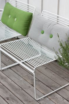 Hee Lounge Chair from HAY great outdoor chair, add some Dot cushions for comfort. Also - COLOURS!!!!
