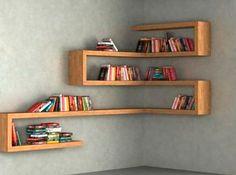 DIY Floating Shelves, bookshelf, and Wall Shelves Easy, Simple Corner Shelf Design, Bookshelf Design, Wall Shelves Design, Display Shelves, Bookshelf Ideas, Display Ideas, Kitchen Wall Shelves, Corner Wall Shelves, Wall Shelves For Books