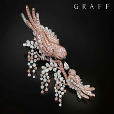 Eternal Love: New from the workshop and now on display at the Doha Jewellery and Watch Exhibition 2017, this delicate Bird Brooch features 381 Pink Diamonds and incorporates a total of 23.63 carats of exceptional Diamonds. Graff Diamonds